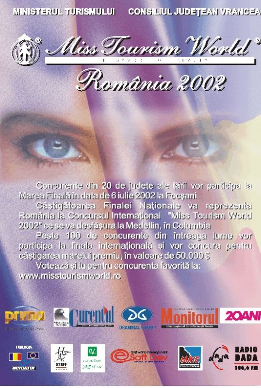 Invitatia poster 2002 pentru Miss Tourism World Romania
