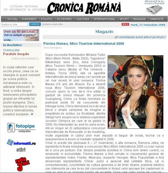 Cronica Romana 21 nov. 2006. Florina Manea (Romania), winner of Miss Tourism International in China (25.OCT-12 NOV.)