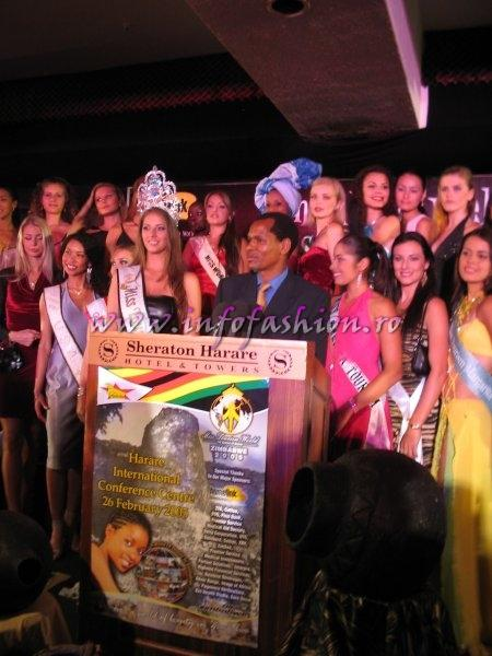 2005-Press Conference with Tourism Secretary, Francis Nhema, Officials & Contestants at Miss Tourism World in Zimbabwe & Alina Ciorogariu-Romania