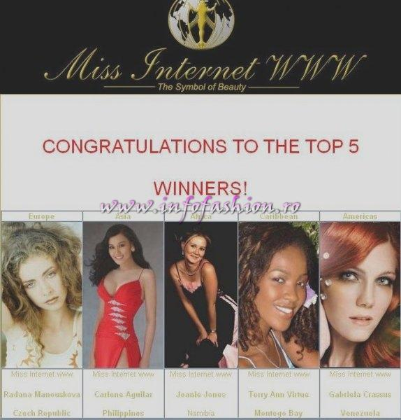 CONGRATULATIONS TO THE TOP 5 WINNERS representing The Continents Miss Internet WWW 2006!