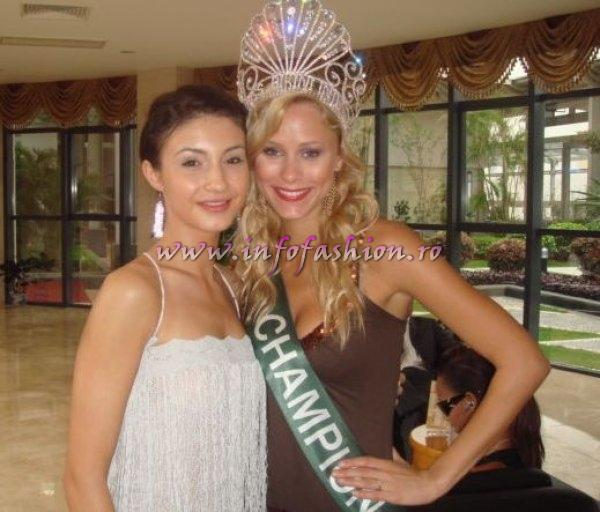 Romania Ramona Jalba and Winner of Miss Bikini International 2006, Julia Liptokova from Slovak Republic in China