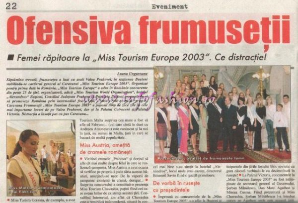 Presa 2003 Romania Prima Finala a unui concurs International- Miss Tourism Europe pe Valea Prahovei si la Bucuresti, prin Platinum Ag Infofashion