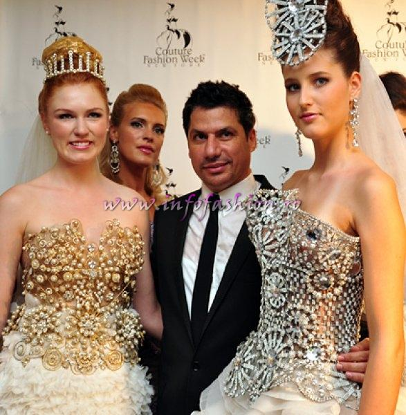 Designer Walid Atallah- Dubai and models on the red carpet at New York`s Couture Fashion Week