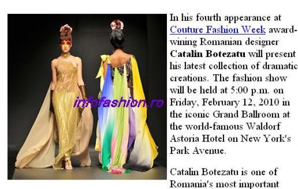 Romania Designer Catalin Botezatu at New York`s Couture Fashion Week,  Latest Dramatic and Feminine Collection 2010