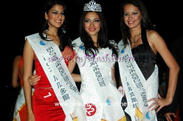 2nd Runner-Up -- Natalia Margarita Munoz Monge (Ecuador), Beauty of the World 2007 Elena Potana (Russia) and 1st Runner-Up -- Veronika Deberdeyeva (Uzbekistan)