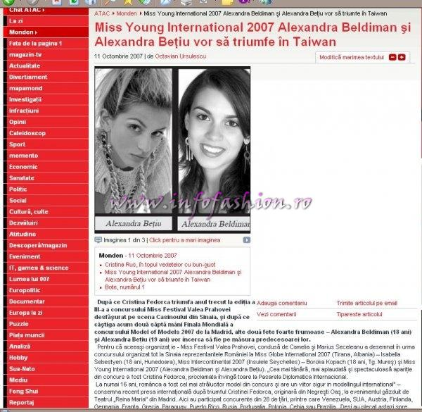 Romanian Papers Atac First destination of Miss Young International 2007: Taichung