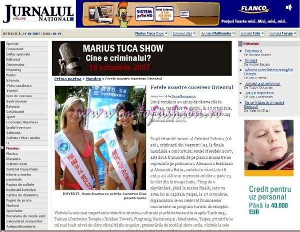 Jurnalul National 21 oct Presa 2007 Taiwan Miss Young International, officially called `Charities of Beauties and Style`. Special correspondents: Camelia Seceleanu & Oana Georgescu