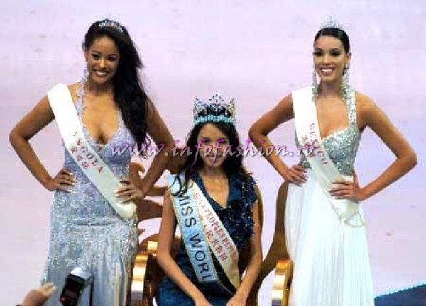 China Sanya: Winner Miss World 2007 Miss China, Zhang Zilin, 1st r.up Miss Angola Micaela REIS and 2nd r.up Miss Mexico Carolina Moran Gordillo