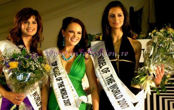 1st runner rup Belarus, Alena Aladka, new Top Model of the World Germany, Alesandra Alores, 2nd runner up Egypt, Lobna Amin