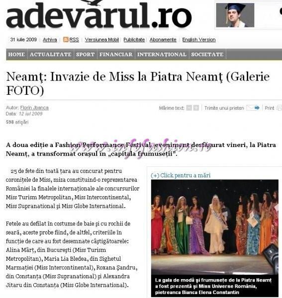 Platinum_2009 Ag Infofashion Press Finalele nationale Miss Globe Intl, Miss Supranational si Miss Intercontinental Romania