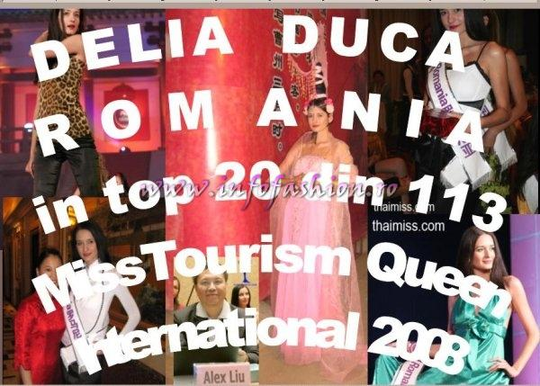 China_2008 Miss Tourism Queen Winner International is Peru. Romania InfoFashion Platinum Ag- Delia Duca, in Top 20 of 113 Delegates and 1st Chess Solving Championship in 2006