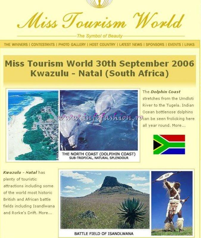 Miss Tourism World 2006 (South Africa- 5 OCT.) se va desfasura sub loggo-ul `Football-ul uneste lumea, frumusetea uneste inimile`