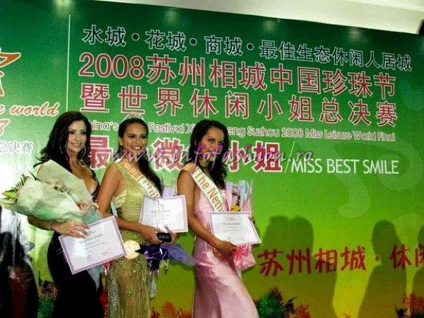 Miss Philippines won the `Best Smile` at Miss Leisure; 2nd Miss Netherlands and 3rd Miss Venezuela