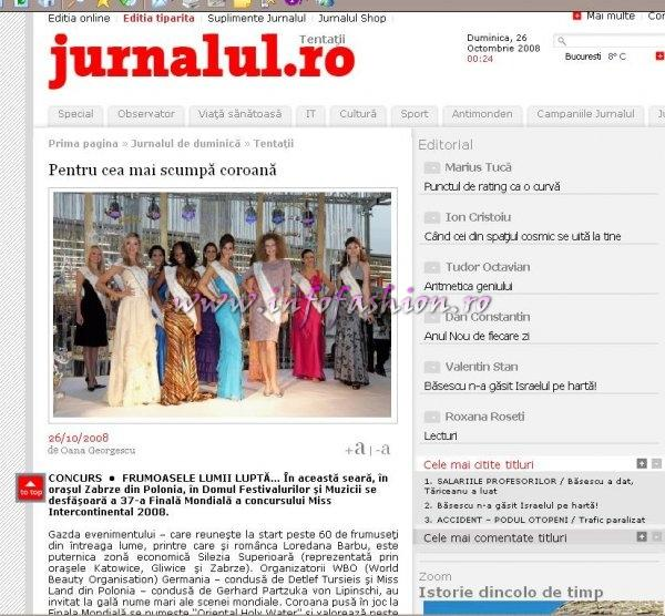 Platinum Infofashion promote in Jurnalul national, the major Romanian Newspaper, the  MISS Intercontinental, in Poland