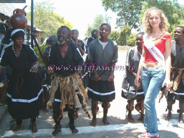 Primire in stil african la Miss Tourism World-Zimbabwe-2005 & Madalina Draghia