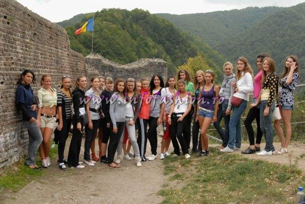 Miss World Romania 2009 Sport track- to climb 1480 steps to the castle of Vlad Tepes, the model for the Bram Stoker character `Dracula`, in Poienari, Arges County