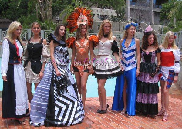 Photo shooting Miss Tourism World in Zimbabwe 2005, la Elefant Hills Resort langa Cascada Victori Falls