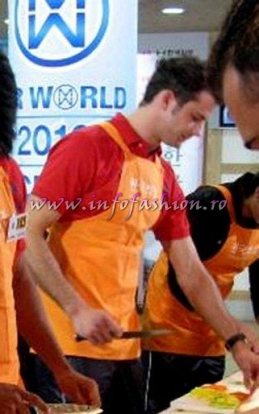 Mr World Red team- Romania in Korean cooking challenge