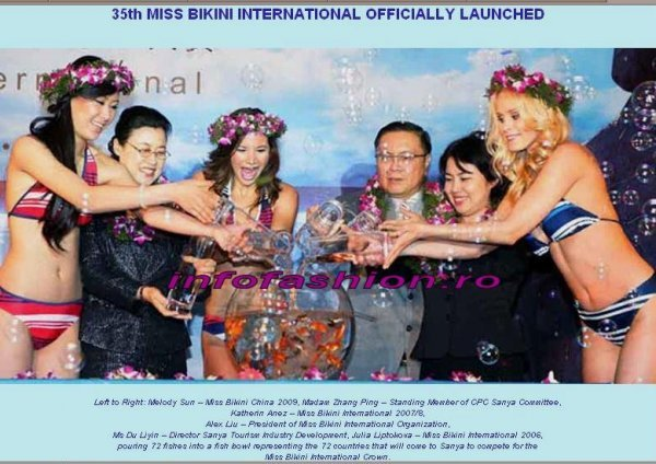 Mrs. Du Liyin, Director Sanya Tourism Industry Development, Julia Liptokova, Miss Bikini International 2006, Katherin Anez, Miss Bikini International 2007-9, Alex Liu, President of Miss Bikini International Organization