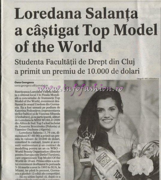 Press Jurnalul National, Loredana Salanta, Miss World Romania 2009, castigatoarea Top Model of the World Germany 16.03.2011 prin Infofashion Platinum Ag