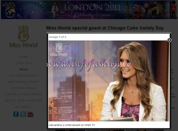 Miss World Alexandria Mills visit to Wrigley Field Stadium, home to the Chicago Cubs baseball team