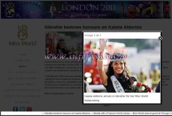 Kaiane Aldorino has been granted the Freedom of the City and the Gibraltar Medallion of Honour in honour of her achievement in being crowned Miss World 2009