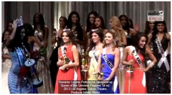 Spain Ivette Saucedo Winner and Lavinia Postolache Romania 1st ru Queen of the Universe 2013 Los Angeles Saban Theatre Producer Infinity Media (Credit: Diversity News)