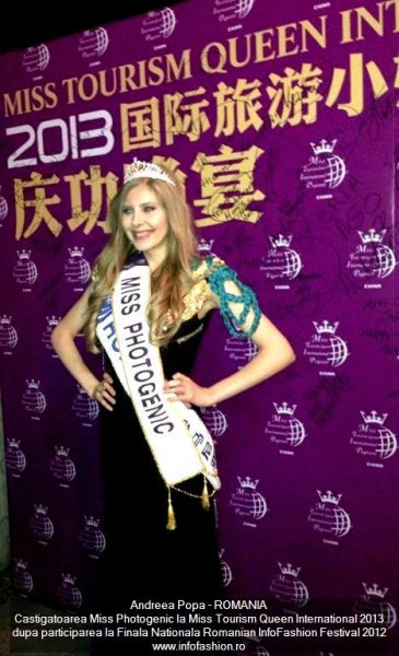 Andreea Popa Castigatoarea Miss Photogenic la Miss Tourism Queen International 2013 dupa Romanian Infofashion Festival 2012