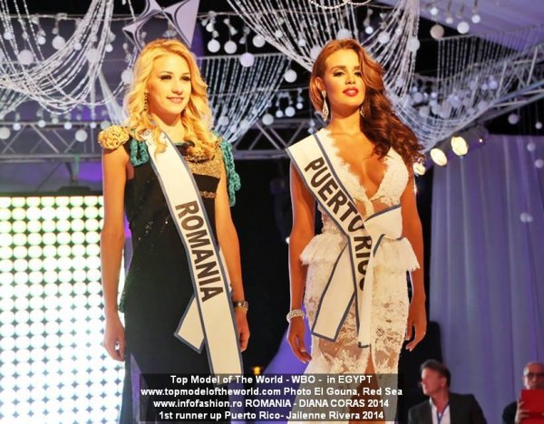 Jailenne Rivera, Puerto Rico, 1st runner up and Diana Coras, Romania at 21st TOP MODEL OF THE WORLD 2014 in Egypt, El Gouna, Red Sea
