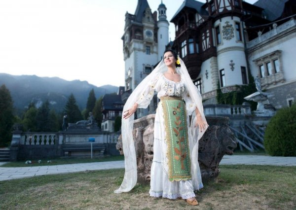Angela Gheorghiu photoshoot National Costume Maria Dragomiroiu`s collection at Peles Castle Photo Cosmin Gogu