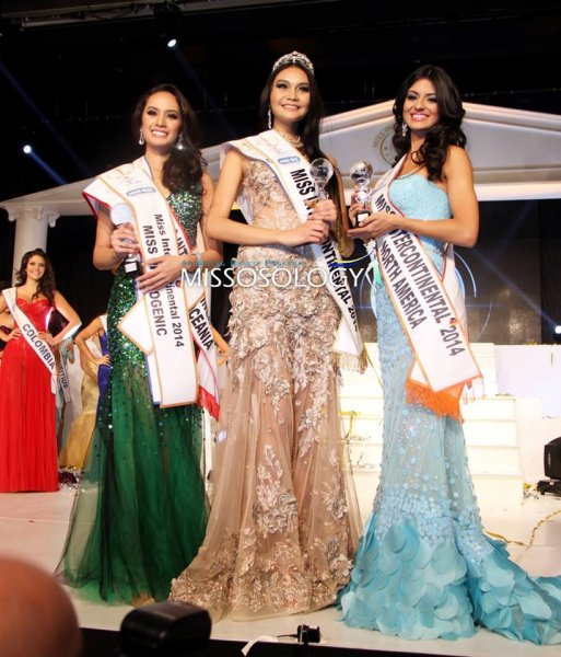 Thailand- Patraporn Wang- The Winner of Miss Intercontinental 2014, 1st runner up Cuba- Jeslie Mergal and 2nd runner up Philippines- Kris Tiffany Janson at 43th edition  in Magdeburg, Germany