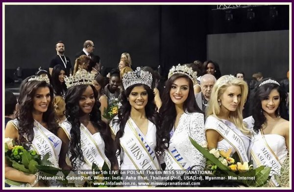 CONGRATULATIONS for the WINNER- India- Asha Bhat, Thailand- Parapadsorn Disdramrong (1st), Gabon- Maggaly Nguema (2nd), USA- Allyn Rose (3th), Poland- Katarzyna Krzeszowska, (4rd), Myanmar- Han Thi, (Miss Internet). Felicitari Elena Zama, ROMANIA pt. clasarea in TOP 20 Miss Supranational 2014