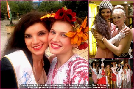 Amalia Girbea in China la Miss All Nations 2012 si Cristina David, Winner Miss All Nations 2011, a 10-a castigatoare InfoFashion Romania -Spirit of Beauty®