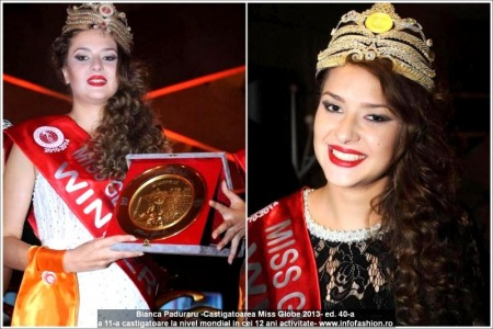 1Bianca_Paduraru WINNER of Miss Globe 40th ed. in Albania 2013 (11th winner in 12 years of InfoFashion Romania Events)